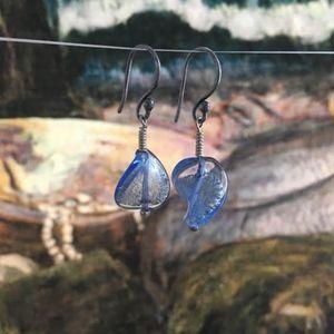 """119: """"Wave"""" Twisted Venetian Glass Earrings"""